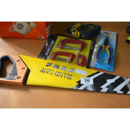 26 - New Hand Saw + Pliers + G Clamp + Tape...