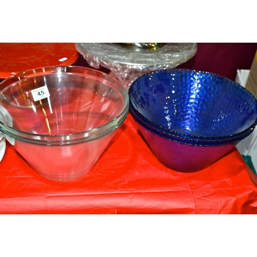 45 - Lot of Glass Fruit Bowls + White Delph...
