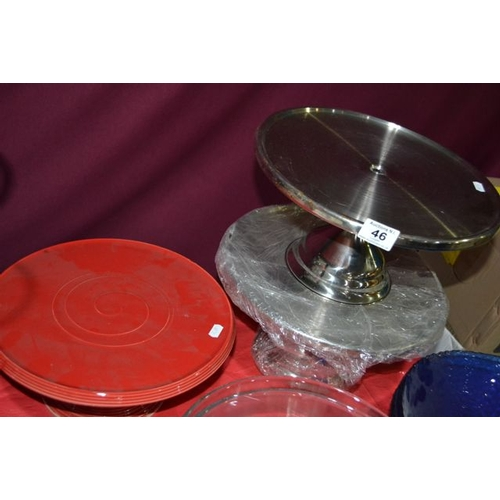 46 - Stainless Steel Cake Stand x 2 + Red Ceramic Cake Stand...