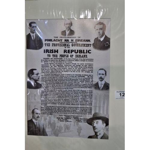 12 - Mounted Irish Proclamation Print...