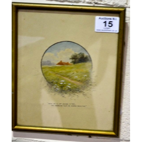 15 - Small Watercolour by H.R.D...