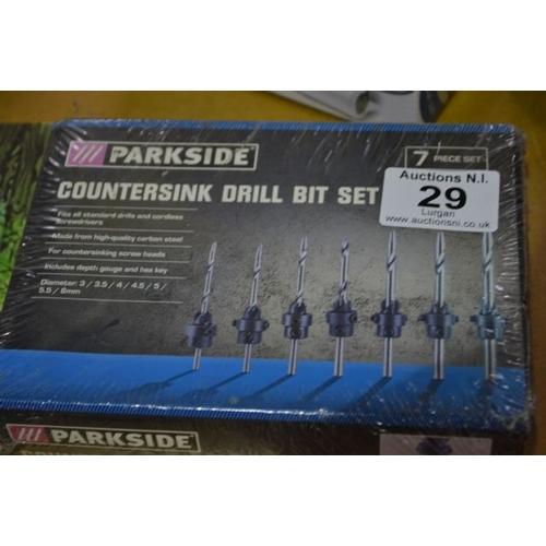29 - Parkside Countersink Drill Bit Set...
