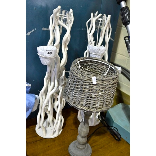 48 - New Lamp + 2 White Branch Candle Holders...