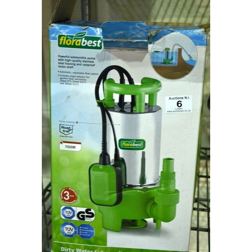 6 - Florabest Dirty Water Submersible Pump...