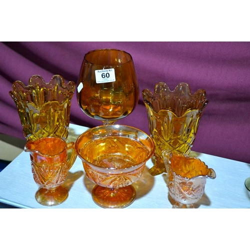 60 - Collection of Amber/Carnival Glass...