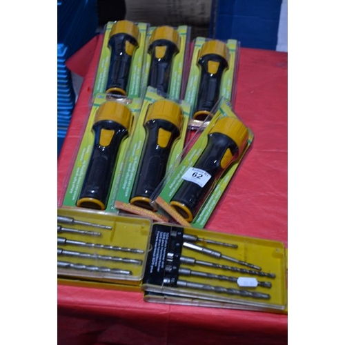 62 - New Torch x 6 + Drill Bits...