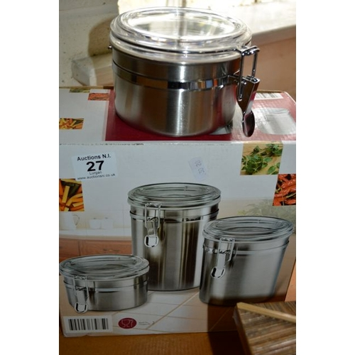 27 - Stainless Steel Canister Trio - New...