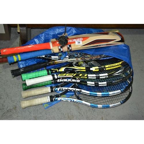 36 - Lot of Tennis Rackets...