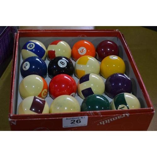26 - Set of Pool Balls...