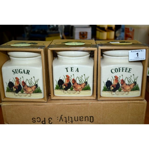 1 - Farmyard Kitchen Canisters - New in Boxes...