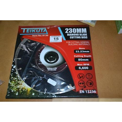 15 - Teikuta 230mm Diamond Blade Cutting Disc - New...