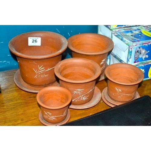 26 - 5x Terracota Planter on Dish...
