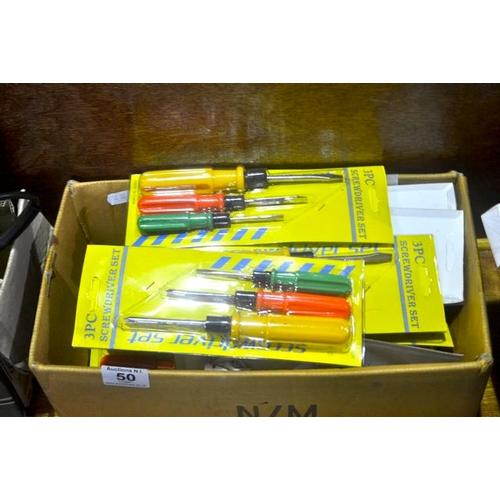 50 - Box of New 3pc Screwdriver Sets...