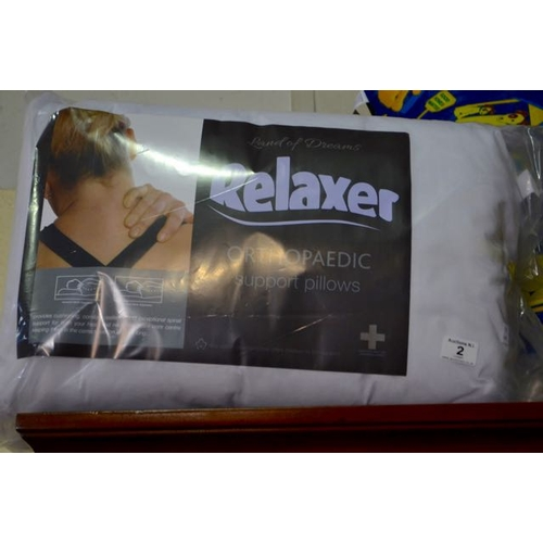 2 - Pair of Relaxer Orthopeadic Support Pillows...