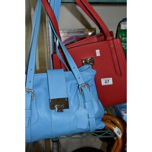 27 - Red M&S Handbag + New Blue Leather Handbag...