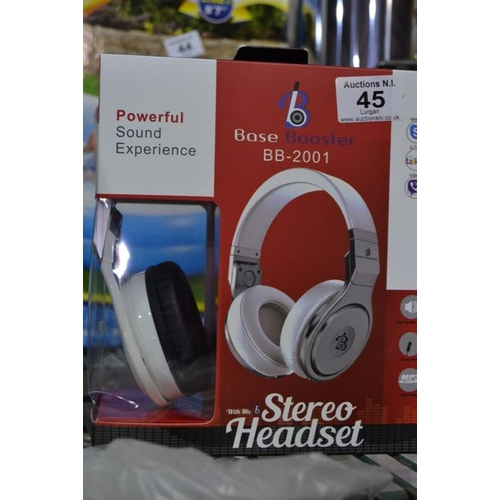 45 - Base Booster Stereo Headset - White...