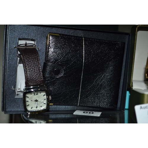 60 - Leather Wallet And Leather Strap Watch Set...