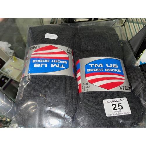 25 - 4x3pk Sports Socks