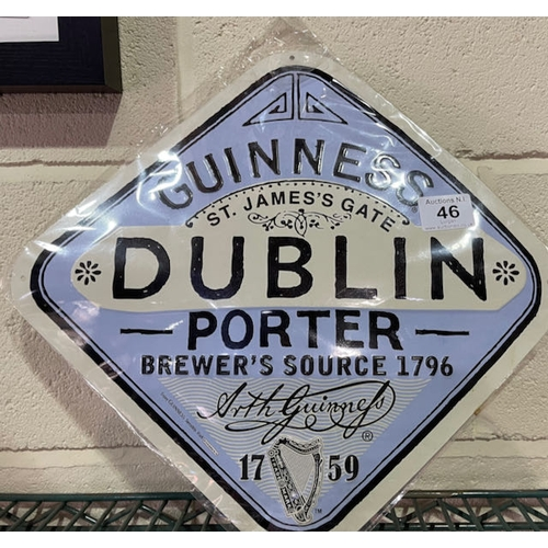 46 - Metal Guinness Label Sign