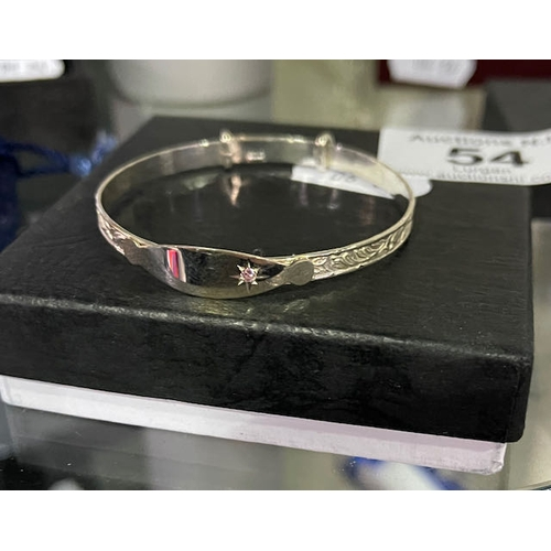 54 - Silver Baby Bangle with Pink Stone