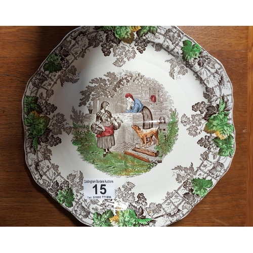 15 - An attractive Spode plate well decorated with two women in conversation, one with a basket of duckli...