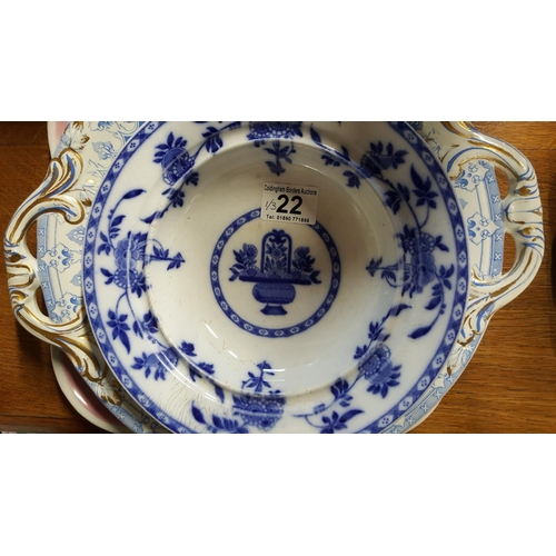 22 - A Minton chinoiserie English blue & white bowl; a Paris charger painted in blue with gilt decoration...