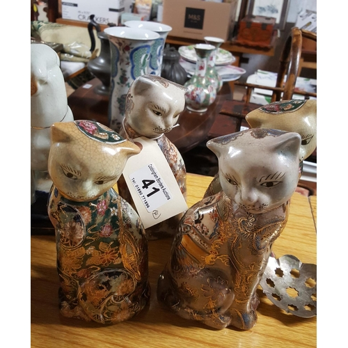41 - A small collection of Japanese porcelain cats  in Satsuma style (4)...