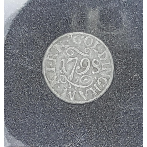 46 - An eighteenth century communion token dated 1798 and inscribed 'Coldingham Kirk' (Coldingham Priory)...