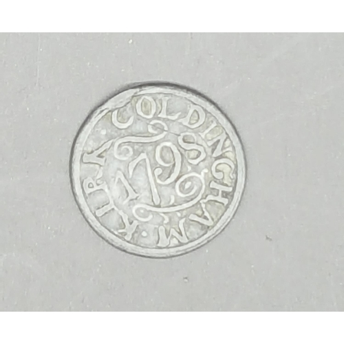 47 - An eighteenth century communion token dated 1798 and inscribed 'Coldingham Kirk' (Coldingham Priory)...