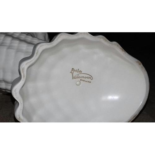 198 - 21 cm tall Spode shell vase 17 cm tall Sylvac shell vase...