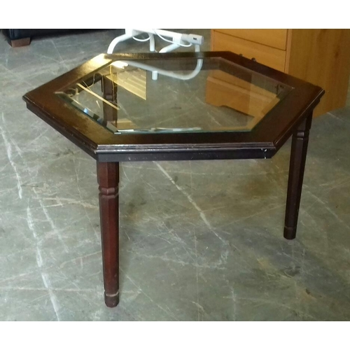 519 - 75 cm wide hexagonal glass top coffee table...