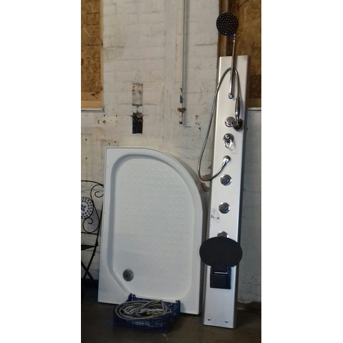 472 - Wall mount shower with flexi pipe fittings and plastic shower base...
