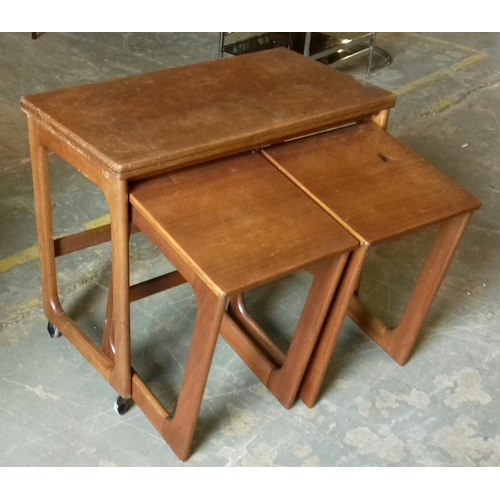 504 - 76 x 41 cm flip and twist top teak table with 2 x under tables...