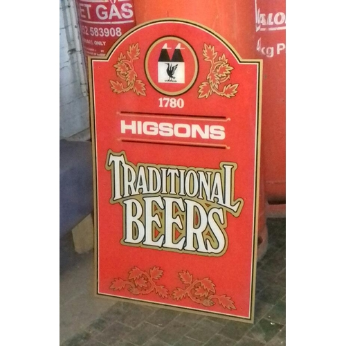 341 - 88 x 54 cm 1950's plastic Higson's traditional beer sign...