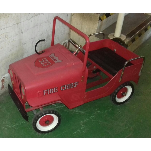 363 - Vintage look Willis Jeep fire chief pedal car...