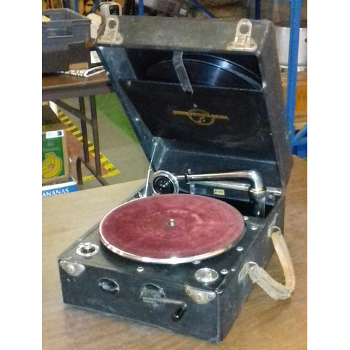 371 - Vintage Colombia number 109 portable wind-up turntable with quantity of vinyl records...