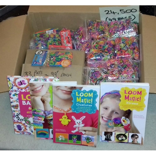 51 - Very large amount of new and bagged loom bands, accessories and books...