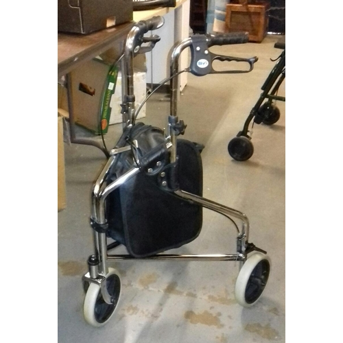 367 - 3 wheel mobility walking aid with bag...