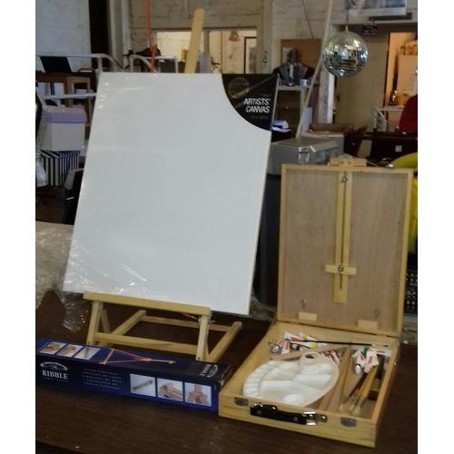 235 - Box of assorted painting and art related items including easels etc....