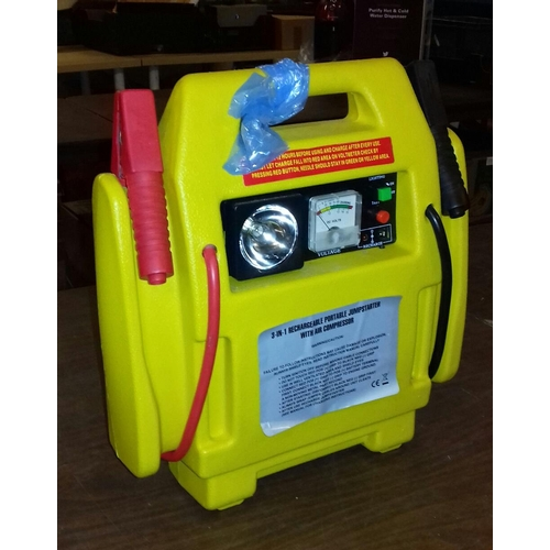 242 - 3 in 1 portable jump starter with compressor and charger...