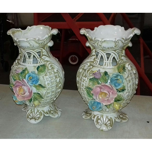 103 - Pair of 30 cm tall Capodimonte vases...