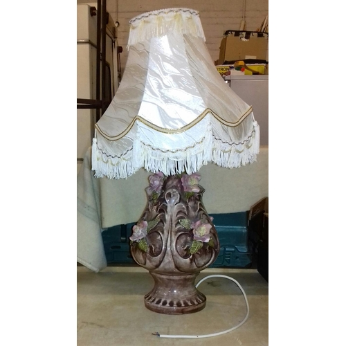 399 - 70 cm tall Capodimonte lamp with ivory tasselled shade...