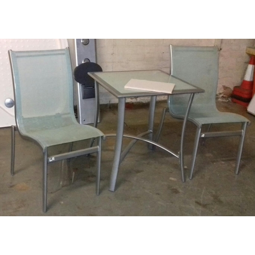 479 - Grey metal with glass top garden table approx. 61 x 61 cm with two chairs...