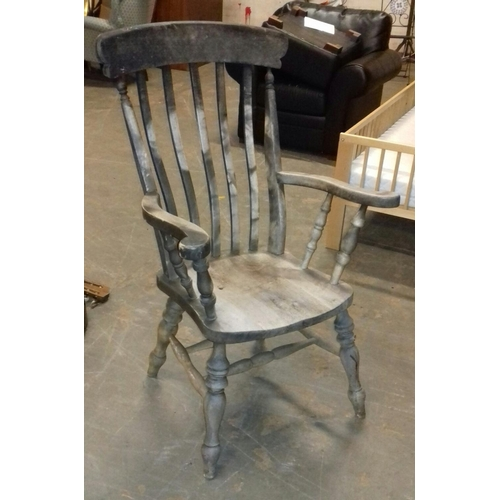 517 - Weathered old farmhouse chair...