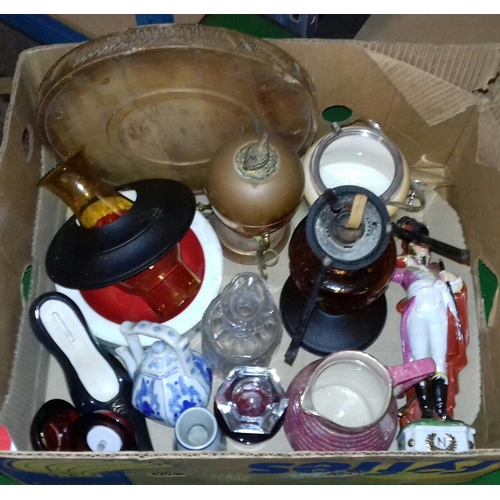 183 - Box of assorted miscellaneous including old glass oil lamp etc....