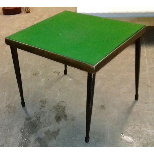 516 - Folding leg vintage card table re-felted...