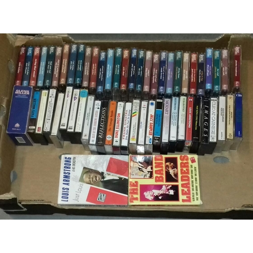 182 - Box of assorted easy listening audio cassettes including nearly complete jazz greats collection...