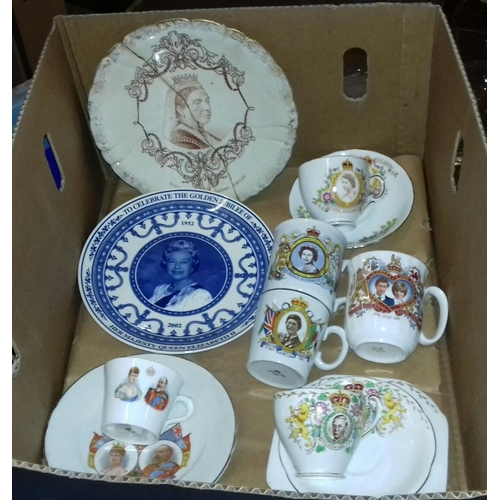261 - Box of assorted royal commemorative plates, cups and saucers and mugs...