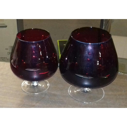 122 - 17 cm and 15 cm tall ruby coloured brandy glasses...