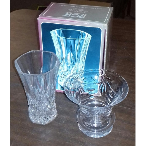 100 - Boxed 13 cm tall RCR crystal vase and other smaller crystal vase...